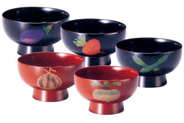 お好み椀 野菜絵変わり 溜・朱(製造中止) 漆塗り 大椀・麺鉢・丼鉢