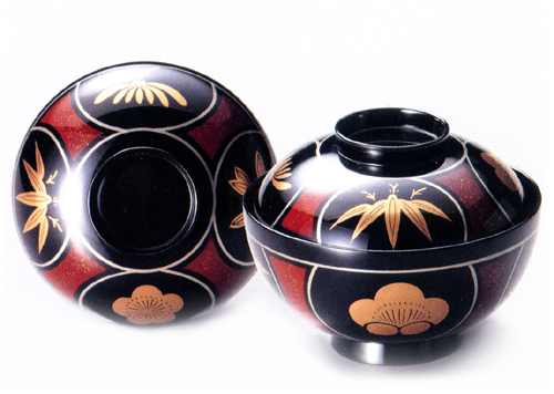 吸物椀 瓢四君子 黒 5客セット 【送料無料】 木製 漆塗り