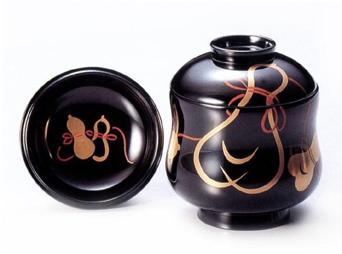 小吸物椀 ひょうたん 黒  5客セット【送料無料】 木製 漆塗り 10-01201