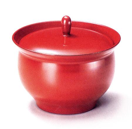 つまみ付菓子器 根来 漆塗り 蓋付き鉢