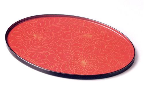 オーバル盆 朱 金牡丹彫り(製造中止) 木製 漆塗り トレー