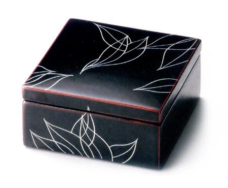 小箱 ラインリーフ 溜  木製 漆塗り(製造中止)