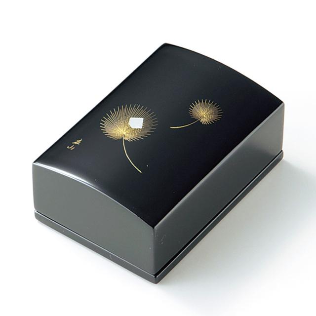 名刺箱 沈金飛花 黒 【送料無料】 木製 漆塗り 名刺ケース・名刺入れ