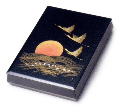 文庫 黒 沈金日の出鶴 A4サイズ 【送料無料】 木製 漆塗り 文箱