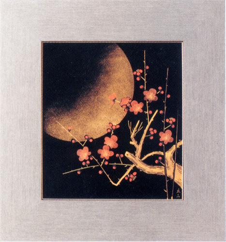 パネル 梅月 【送料無料】 木製 漆塗り アート インテリア