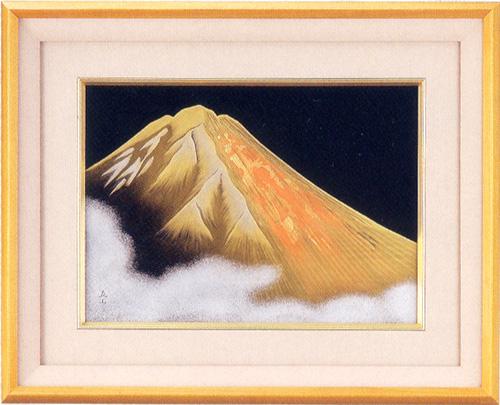 パネル 金富士 【送料無料】 木製 漆塗り アート インテリア 10-14403