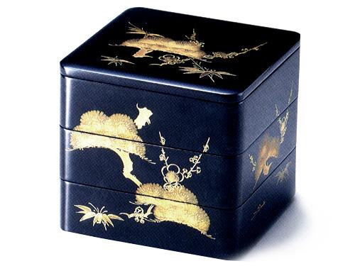 6.5三段重箱 沈金松竹梅 黒(製造中止) 木製 漆塗りお重箱