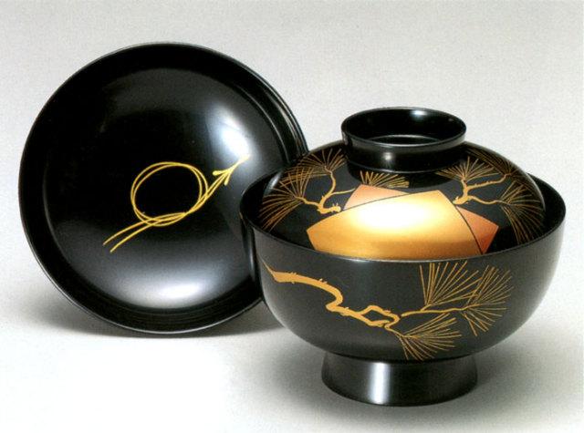 吸物椀 色紙老松 黒 5客セット 【送料無料】 木製 漆塗り