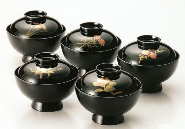 吸物椀 五草花蒔絵 黒 5客セット(製造中止) 木製 漆塗り