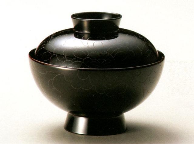 吸物椀 牡丹彫 溜 5客セット 【送料無料】 漆塗り
