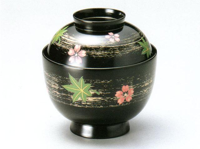 小吸物椀 春秋ちらし 黒 5客セット 【送料無料】 木製 漆塗り