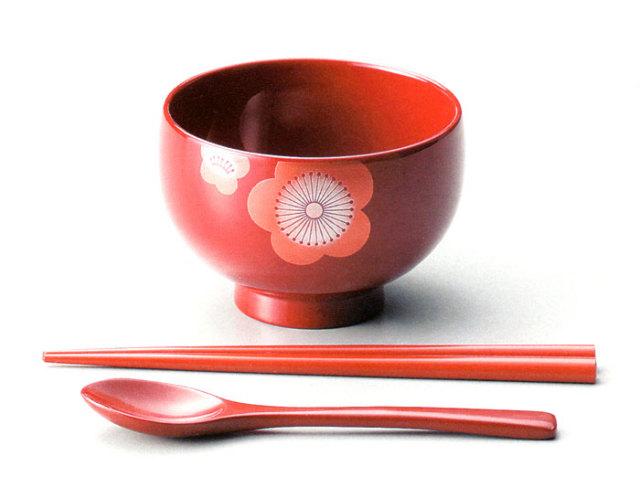 汁椀 うめ お子様用はしスプーンセット 木製 漆塗り 木のお椀・味噌汁椀 子供用食器