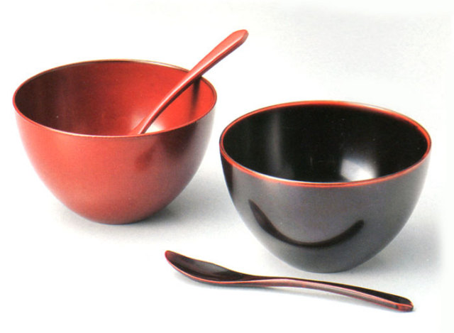 ペアスイーツカップ(スプーン付) 溜・古代朱  漆塗りデザートカップ(製造中止)