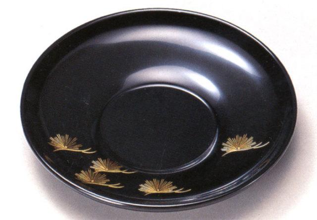 4.0茶托 沈金松 黒 5枚セット 【送料無料】 木製 漆塗り 10-05802
