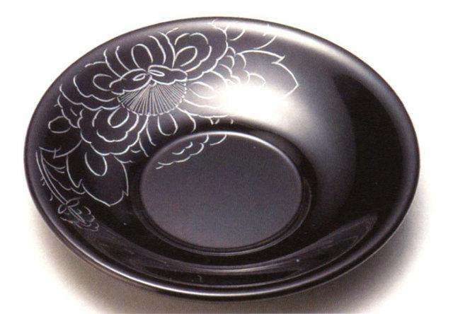 茶托 牡丹一輪彫 溜 5枚セット(製造中止) 漆塗り
