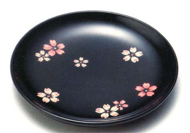 銘々皿 桜ちらし 黒 5枚セット 【送料無料】 木製 漆塗り 取り皿・小皿