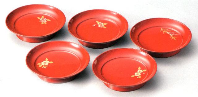 椿皿 五草花 朱 5枚セット(製造中止) 【送料無料】 漆塗り 取り皿・小皿