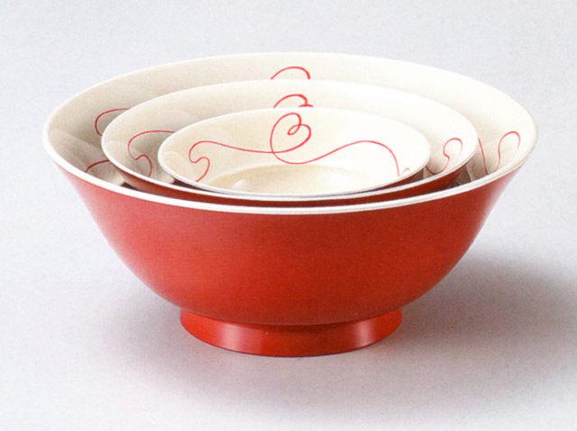 入れ子鉢 赤い糸 朱内白(製造中止)