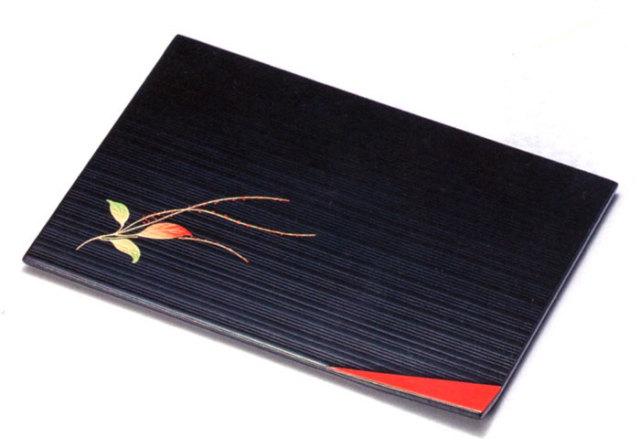 盛皿 隅折 水引草 黒 5枚セット 木製 中皿