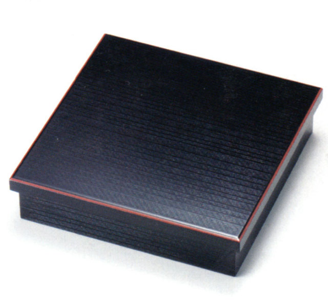 松花堂弁当箱 黒 朱縁 木製 木のランチボックス 10-11701