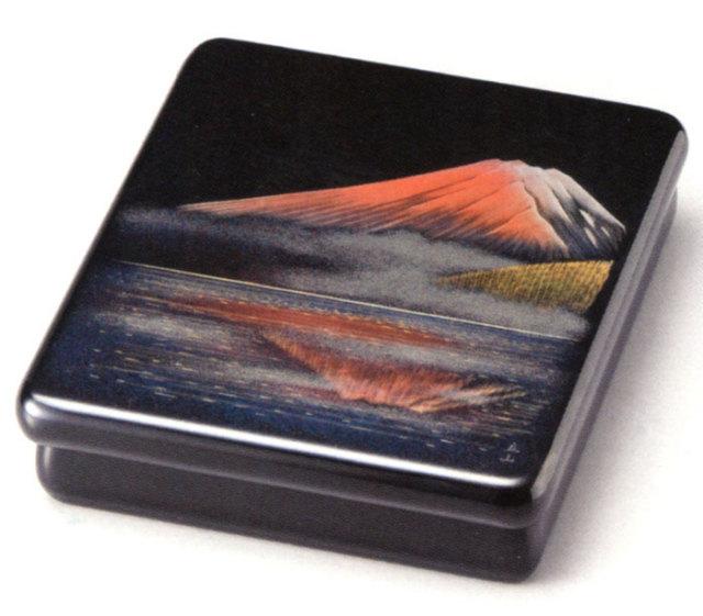 光琳文庫 沈金 夕日に輝く富士 黒(製造中止) 木製 漆塗り 文箱