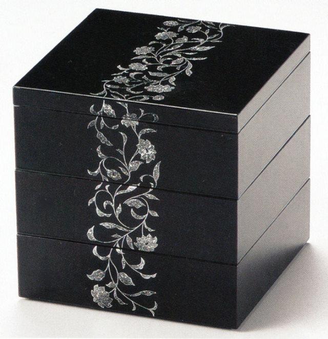 三段重箱 5.5寸 アールデコ 溜 【送料無料】