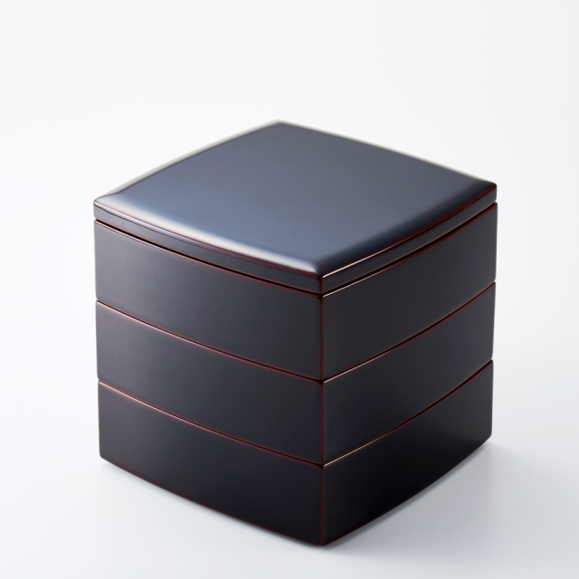 胴張三段重箱 溜内朱 5.5寸 【送料無料】 木製 漆塗りお重箱