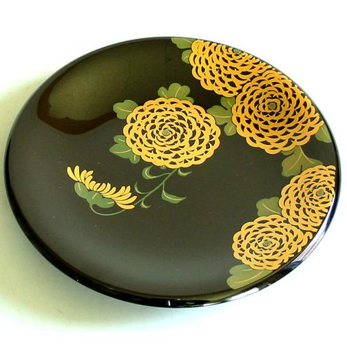 飾り皿 蒔絵 伊藤若冲写し 【送料無料】 木製 漆塗り 絵皿 インテリア