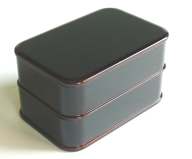 うるし二段弁当箱 溜 (製造中止) 木製 漆塗り 木のランチボックス