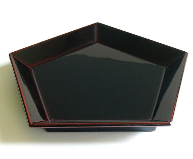 五角皿 溜 (製造中止) 木製 漆塗り 中皿
