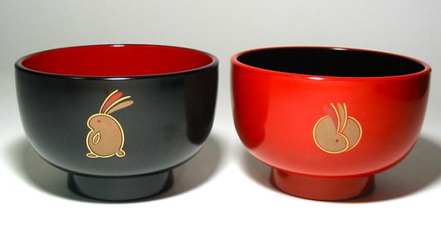 汁椀 京うさぎ 大 (製造中止) 漆塗り 大椀・麺鉢・丼鉢