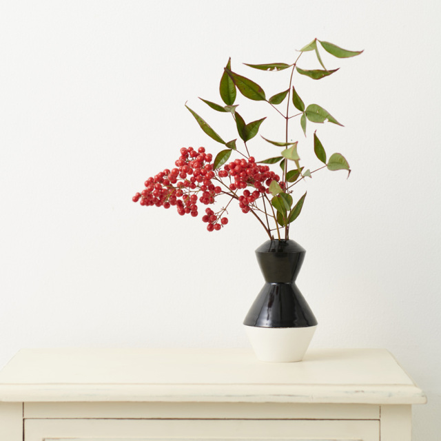 いちりん 花生け 漆器と清水焼のコラボレーション