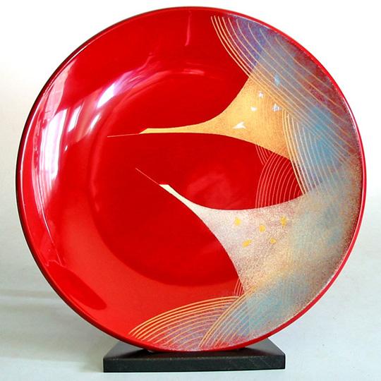 飾り皿 朱 二羽鶴 【送料無料】 木製 漆塗り 絵皿 インテリア