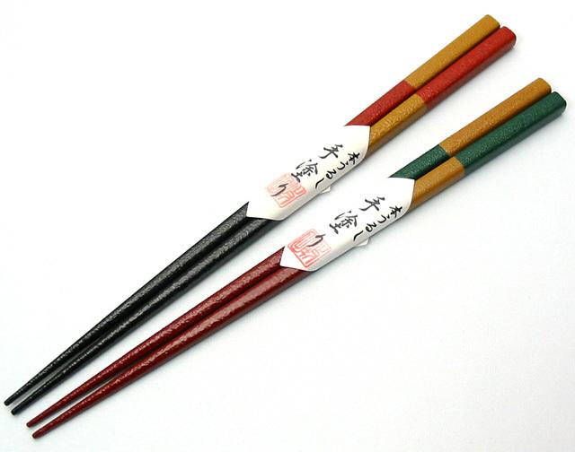 うるし乾漆箸 歌舞伎市松 【メール便可】 木製 漆塗り カトラリー