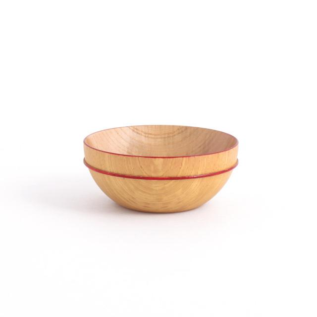MOKUボウル A 赤ライン 木製
