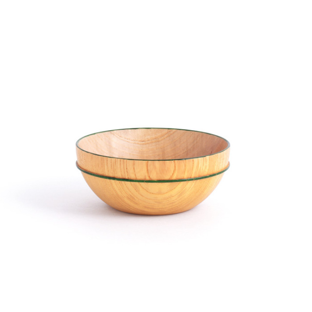 MOKUボウル A 緑ライン 木製