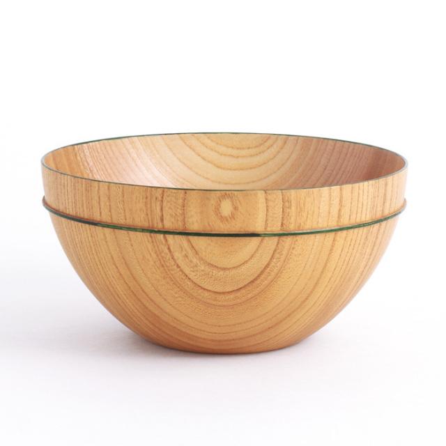 MOKUボウル D 緑ライン 木製