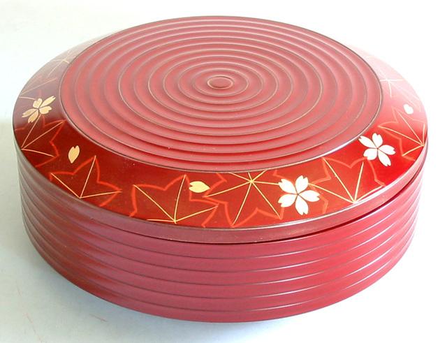 丸一段重箱 朱 春秋 (製造中止) 漆塗りお重箱
