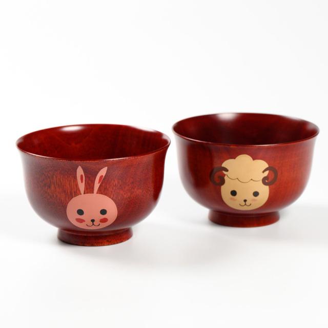 干支椀 桜 茜 木製 漆塗り 木のお椀・味噌汁椀