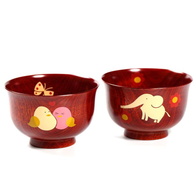アニマル柄汁椀 桜 茜 木製 漆塗り 木のお椀・味噌汁椀 子供用食器