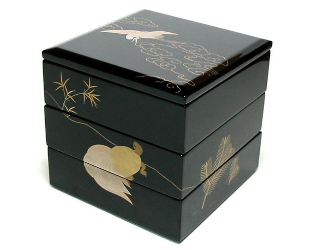 三段重箱 鶴亀 6寸 【送料無料】 木製 漆塗りお重箱