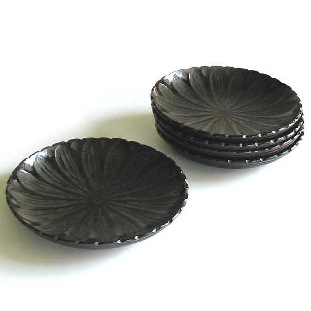 茶托 菊割象谷 5枚セット【送料無料】 木製 漆塗り(製造中止)