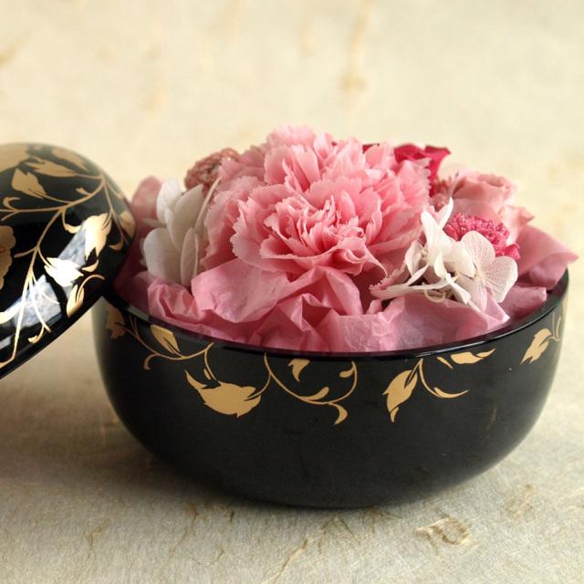 プリザーブドフラワー 花スウィーツ 黒 漆器セット カーネーション 母の日ギフト