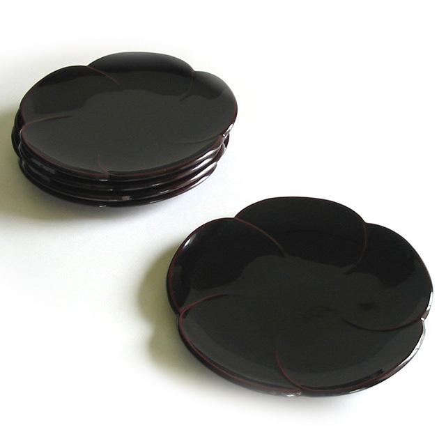 福梅銘々皿 5枚セット  【まとめ買い割引】  漆塗り 取り皿・小皿