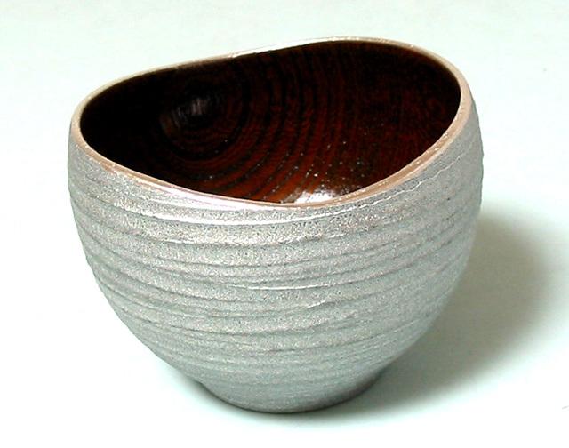 ゆらぎボウル 欅 銀さび 木製 漆塗り 小鉢 盃 ぐい呑み