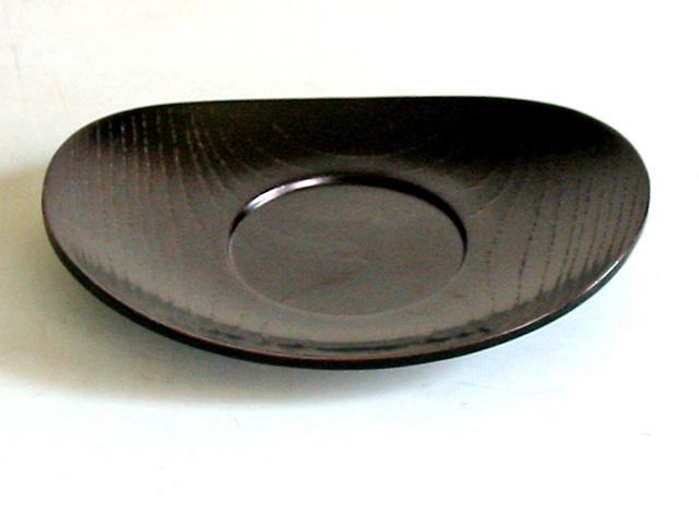 小判茶托 黒 目弾き  (製造中止) 木製 漆塗り