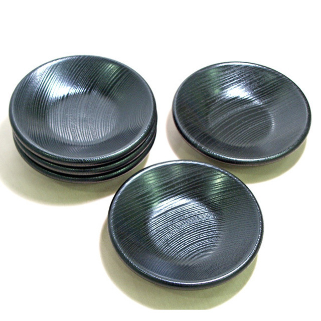 茶托 黒 目弾き 太渕 5枚セット 【送料無料】 木製 漆塗り(製造中止)
