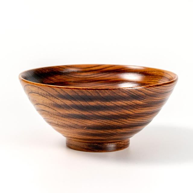 飯椀 波紋 摺漆 木製 漆塗り 木のご飯茶碗