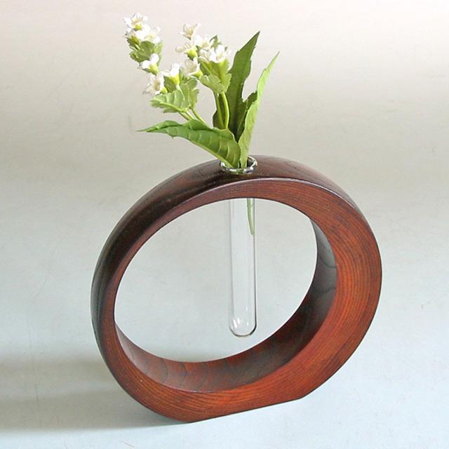 三日月一輪挿し 欅 小  木製 漆塗り 花生け 花器 花瓶
