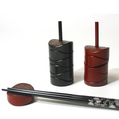 パズル箸置き 木製 漆塗り 5個セット(製造中止)